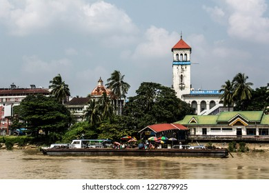 Yangon, Myanmar - Oct 31 2017: View to Yangon ferry station from the river