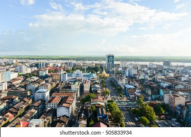 YANGON MYANMAR - OCTOBER 1, 2012 - Aerial view of Sule pagoda in downtown, Yangon, Myanmar. Sule Pagoda located in the heart of Yangon