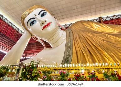 Yangon, Myanmar - OCTOBER 25, 2015: Chauk Htat Gyi Reclining Buddha in Yangon