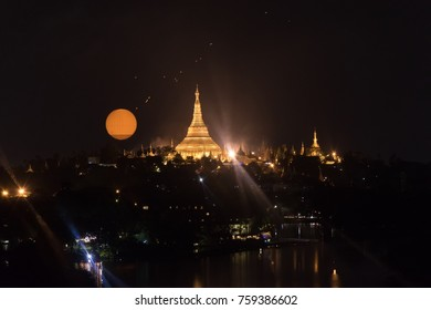 Yangon Myanmar, october 5 thursday 2017 :  View of shwedagon pagoda in yangon