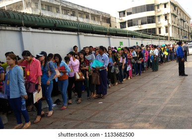 Yangon Myanmar on April 02, 2018: People was queuing line up for new passport process