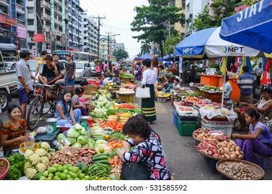 YANGON, MYANMAR- SEPTEMBER 10, 2016: China town local fresh market in Yangon