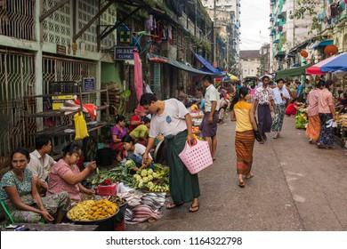 Yangon, Myanmar - September 27, 2016: Traditional burmese street market in Yangon.