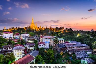 Yangon, Myanmar skyline with Shwedagon Pagoda.