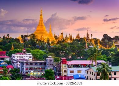Yangon, Myanmar skyline at Shwedagon Pagoda.