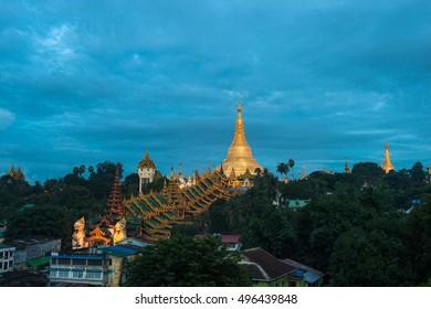 Yangon, Myanmar view of Shwedagon Pagoda at twilight.