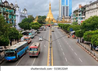 YANGON , OCTOBER 16 Sule Pagoda is located in the center of Yangon. at the junction of Sule Pagoda Road and Mahabandoola Road. Kyauktada Township.  16 OCTOBER 2016, Yangon , Myanmar