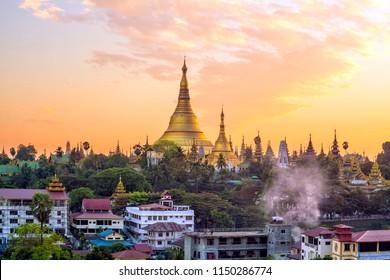 Yangon skyline with Shwedagon Pagoda in Myanmar at sunset