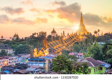 Yangon skyline with Shwedagon Pagoda in Myanmar at sunset