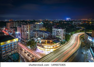 Yangon/Myanmar-Aug 28, 2019: Cityscape of Yangon at night with traffic light