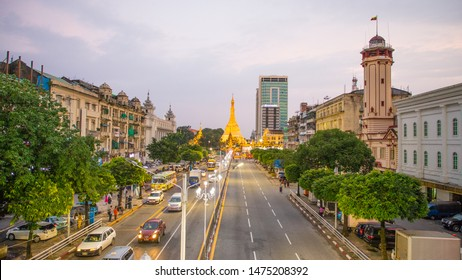 YANGON/MYANMAR(BURMA) - 9th Aug, 2019 : Traffic around Sule pagoda in Yangon, Myanmar.