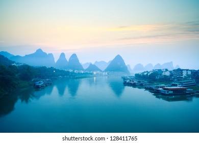 yangshuo scenery in dawn,tranquil landscape in guilin,China.