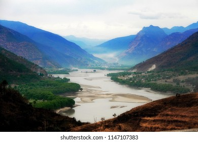 Yangtze River, Yunnan, China  that is during the way go to Shangrila. Geography is very high mountain. This photo is the morning time with light foggy.