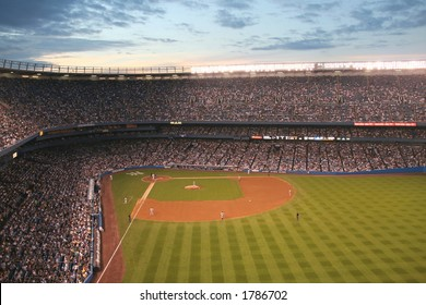 Yankee Stadium at twilight- wide angle view