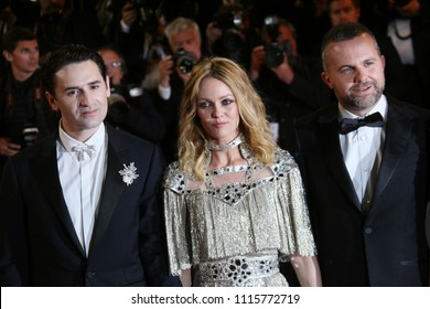 Yann Gonazalez, Vanessa Paradis and Nicolas Maury attend the screening of 'Knife + Heart (Un Couteau Dans Le Coeurr)' during the 71st Cannes Film Festival at Palais on May 17, 2018 in Cannes, France.