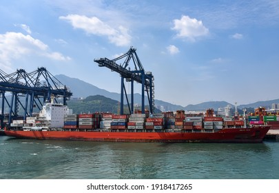 Yantian, Guangdong Province, China - October 12, 2020: panorama sea side view on sea port and International Container Terminal.