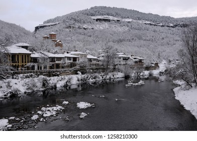 The Yantra river, Saint Dimitry church and Asenov district of Veliko Tarnovo in Bulgaria in the winter
