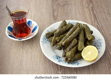 Yaprak sarma Turkish traditional food with tea