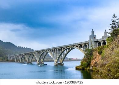 Yaquina Bay Bridge in Newport, an Oregon architectural icon. The bridge crosses Yaquina Bay estuary, thus its name.