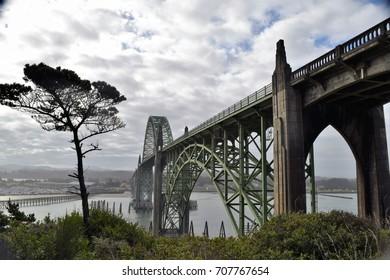 Yaquina Bay Historic Bridge, an arch bridge spanning an estuary in coastal Newport, Oregon.