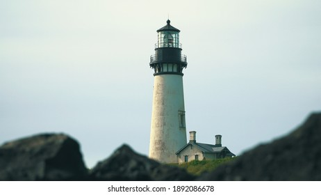 Yaquina Head Lighthouse in Newport, Oregon, USA