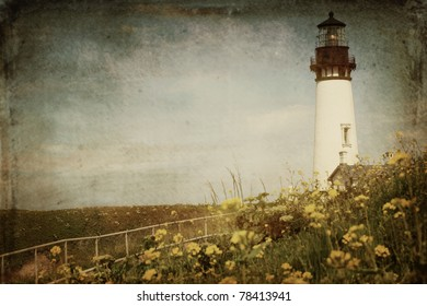 Yaquina Head Lighthouse in Newport, Oregon with a vintage finish