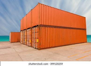 Yard of cargo container shipping.