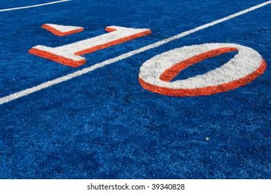 Yard line numbers at BSU stadium in Boise, Idaho