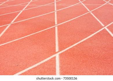 Yard line, running track, athletics track, a red, white ground.