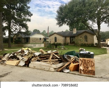 """Yard of the Month"" Texan homeowners start repairing and rebuilding houses that were damaged by the floods during Hurricane Harvey in Houston, Texas."