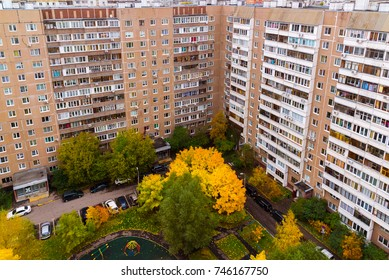 Yard of a multi-storey apartment house in autumn in Moscow Russia