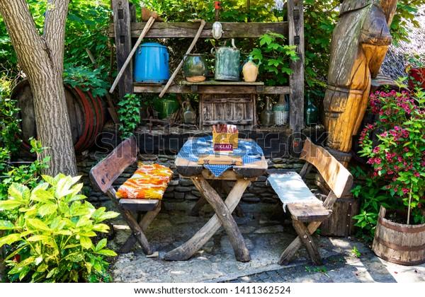 Yard of old times in Tihany at Lake Balaton, Hungary