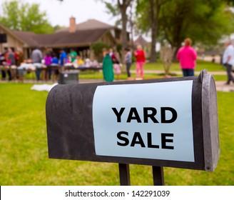 Yard sale in an american weekend on the green lawn