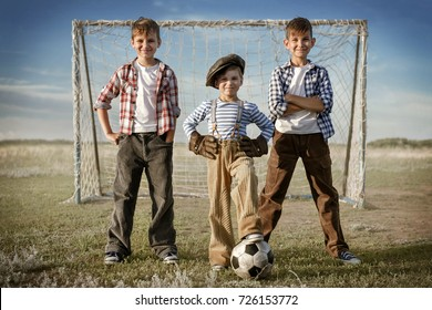 Yard team of football players against the backdrop of the gate in the field