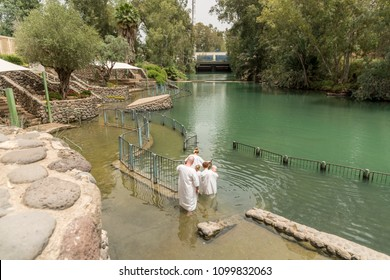 Yardenit, Israel- May 6, 2018 : Yardenit baptism site on the Jordan River in Israel, the site commemorating Christ's baptism was established at the Yardenit site in Israel