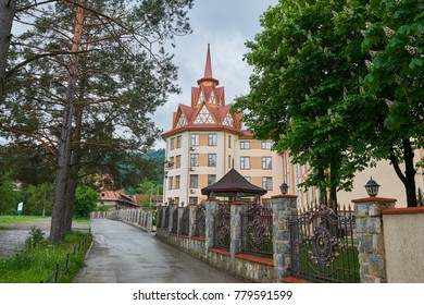 Yaremche, Ukraine - May 27, 2017: The beautiful hotel in the center of the Carpathians - Yaremche town, Ukraine.