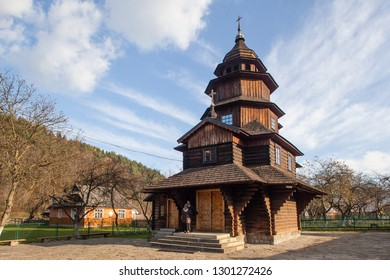Yaremche, Ukraine - October 28 2013: Ancient wooden church of Holy Prophet Elijah ( Ilinskaya) , village Dora, near Yaremche - cultural monument, Ukraine. Carpathians.