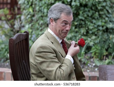 YARM, TEESSIDE/UK - APRIL 23rd 2014 - United Kingdom Independence Party (UKIP) leader Nigel Farage campaigning in the North East town of Yarm on the run up to the 2014 general election.