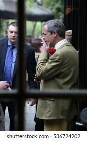 YARM, TEESSIDE/UK - APRIL 23rd 2014 - United Kingdom Independence Party leader Nigel Farage in the Black Bull pub while campaigning in the North East town of Yarm during the 2014 general election.