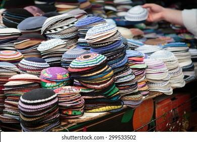 Yarmulkes in Jerusalem market
