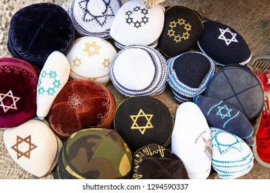 Yarmulkes, Jewish Hat Cover, Kippah with Israeli Star of David sells as a Souvenirs in Old city of Jerusalem. Jewish headwear - Image