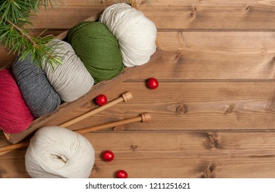 Yarn Balls. Knitting Needles. Christmas Tree