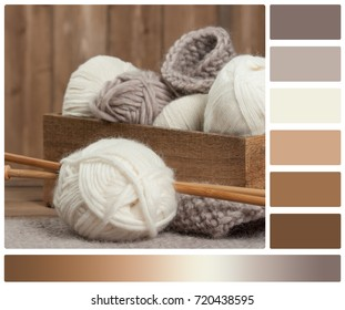 Yarn Balls. Wooden Knit Needles. Knitting Accessories. Palette With Complimentary Color Swatches