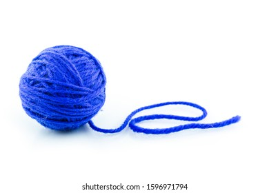 yarn color blue on white background.