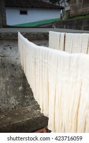Yarn drying after dye, Drying thread. Guatemala