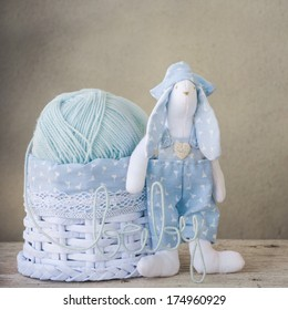 Yarn for newborn with rabbit