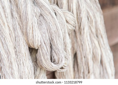 Yarn, raw materials cotton. Yarn of cotton on wooden background with copy space.