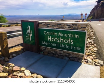 Yarnell, Arizona / USA - April 22, 2018: Sign marking the entrance to the Granite Mountain Hotshots Memorial State Park