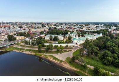 Yaroslavl Kremlin from a bird's-eye view, aerial photography of the main sight