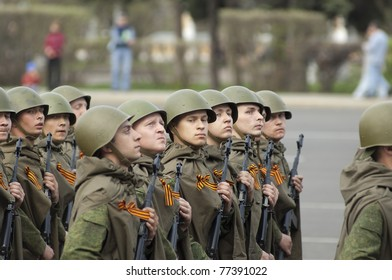 YAROSLAVL - MAY 7 : Unidentified soldiers dressed soviet uniform rehearse for the Military Parade during 66th anniversary of Victory in Great Patriotic War on May 7, 2011 in Yaroslavl, Russia